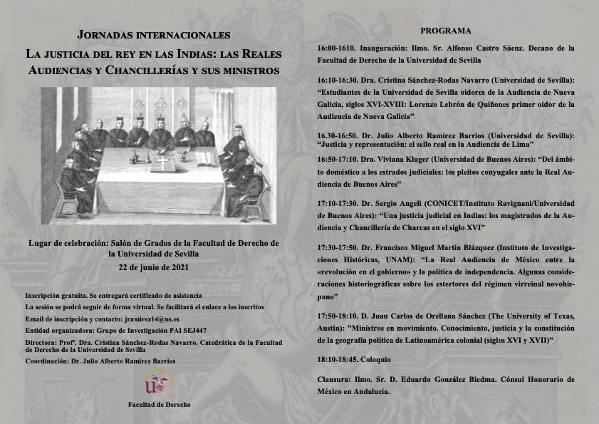Jornadas internacionales. La justicia del rey en las Indias. Universidad de Sevilla.